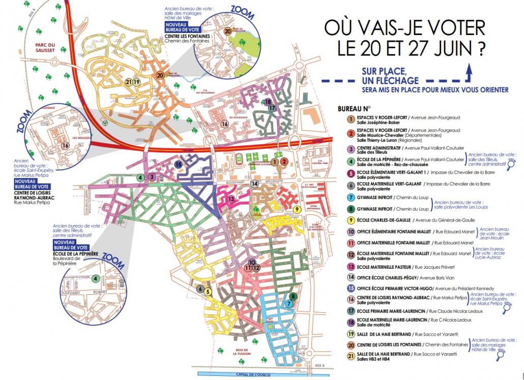 Lieux de brureaux de vote pour les élections départementales et régionales à Villepinte (93)