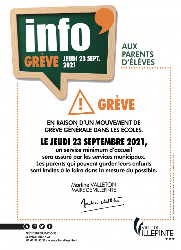 mouvement de grève dans les écoles villepintoises jeudi 23 septembre 2021