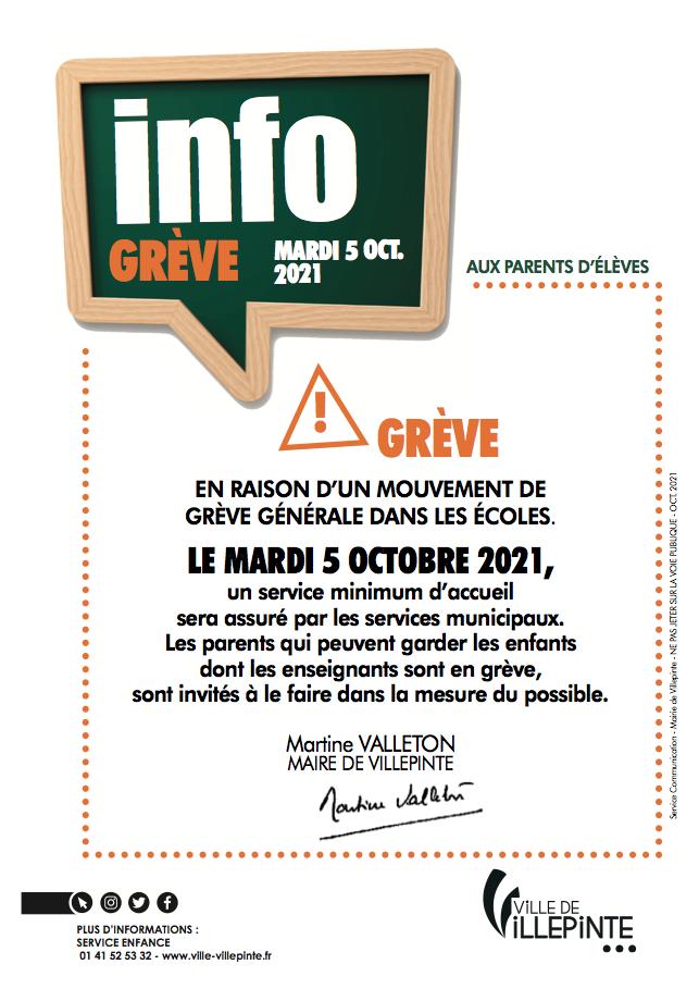 Serive minimum d'accueil pour la grève du mardi 5 octobre - villepinte