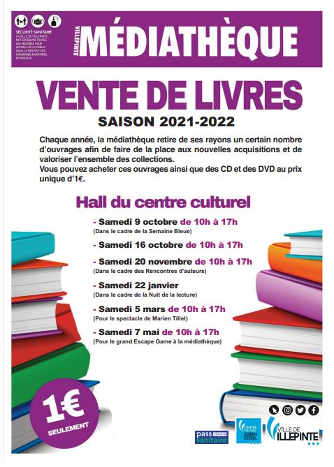 Vente de livres, cd, bd, dvd à la médiathèque en 2021-2022